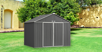 EZEE 10 x 8 ft. Charcoal/Cream Galvanized Extra High Gable Steel Storage Shed