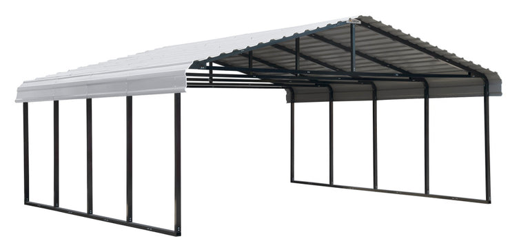 Arrow Charcoal 20 x 29 Steel 2 Car Carport Kit