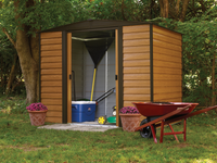 Woodridge 8 x 6 ft. Coffee/Woodgrain Steel Storage Shed
