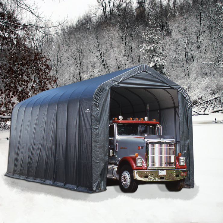ShelterCoat Gray 16 x 36 Peak Portable One Car Garage