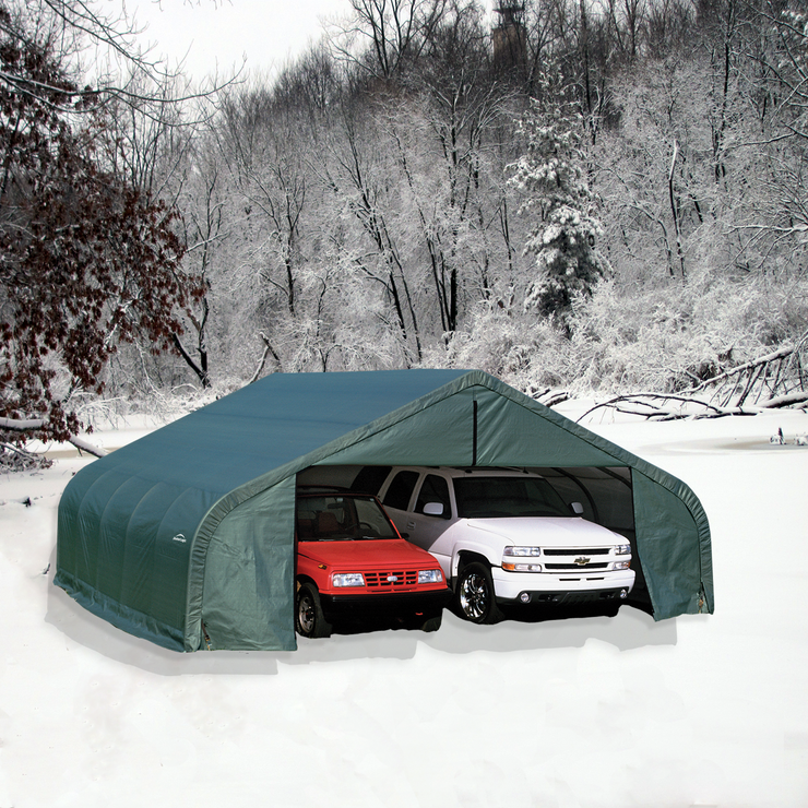 ShelterCoat Green 22 x 20 Peak Portable 2 Car Garage