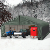 ShelterCoat Gray 28 x 20 Peak Portable 2 Car Garage