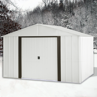 Arlington 10 x 12 ft. Eggshell/Coffee Steel Storage Shed