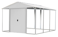 Ironwood 10 x 12 ft. Cream Galvanized Steel Hybrid Shed Kit