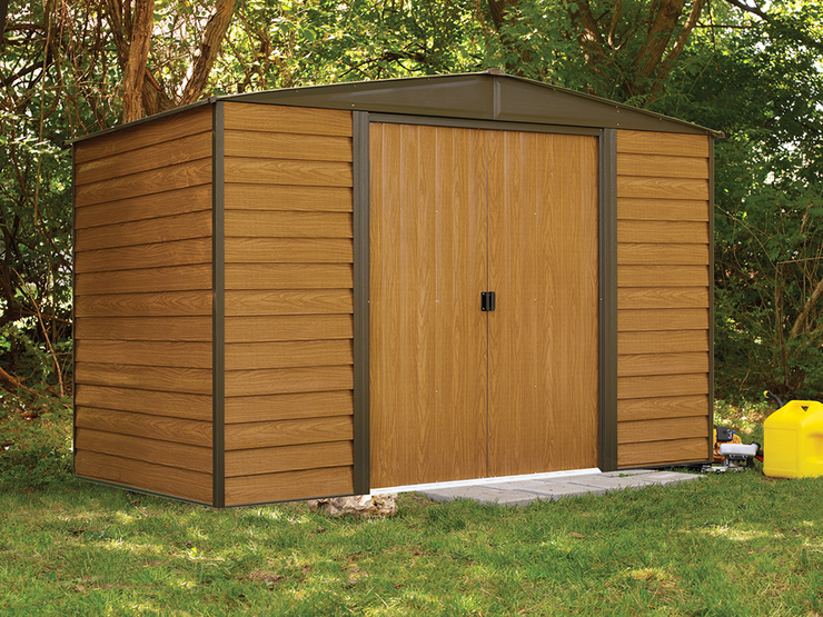 Woodridge 10 x 6 ft. Coffee/Woodgrain Steel Storage Shed