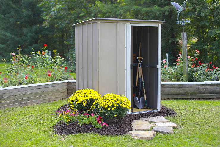 Brentwood 5 x 4 ft. Coffee/Taupe/Eggshell Pent Roof Steel Storage Shed