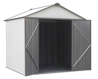 EZEE 8 x 7 ft. Cream/Charcoal Galvanized High Gable Steel Storage Shed