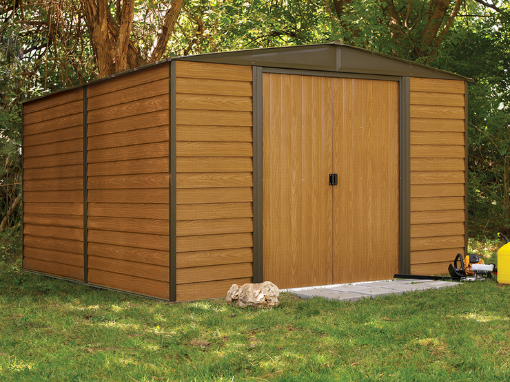 Woodridge 10 x 12 ft. Coffee/Woodgrain Steel Storage Shed