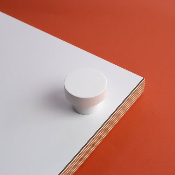 White powder-coated cabinet knob