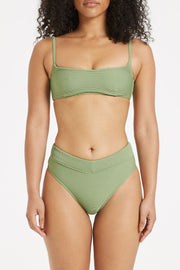 Signature V Waisted Brief - Tallow Green