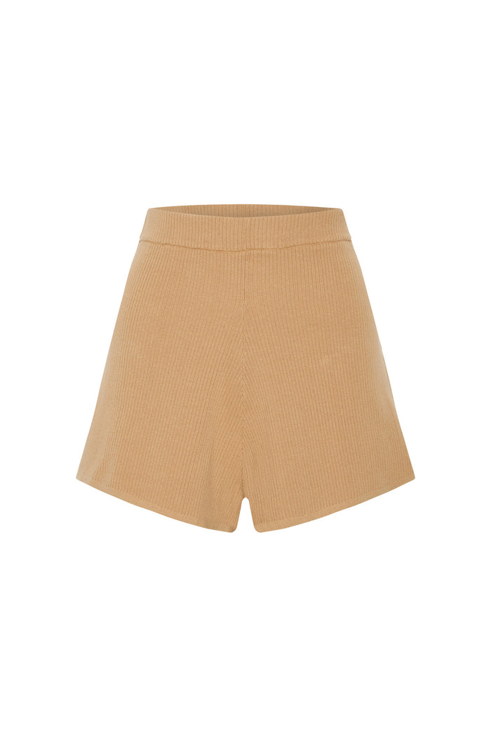 Signature Rib Knit Short - Tan