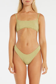 Cord Towelling Bralette Top - Olive