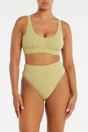 Cord Towelling High Waisted Brief - Olive