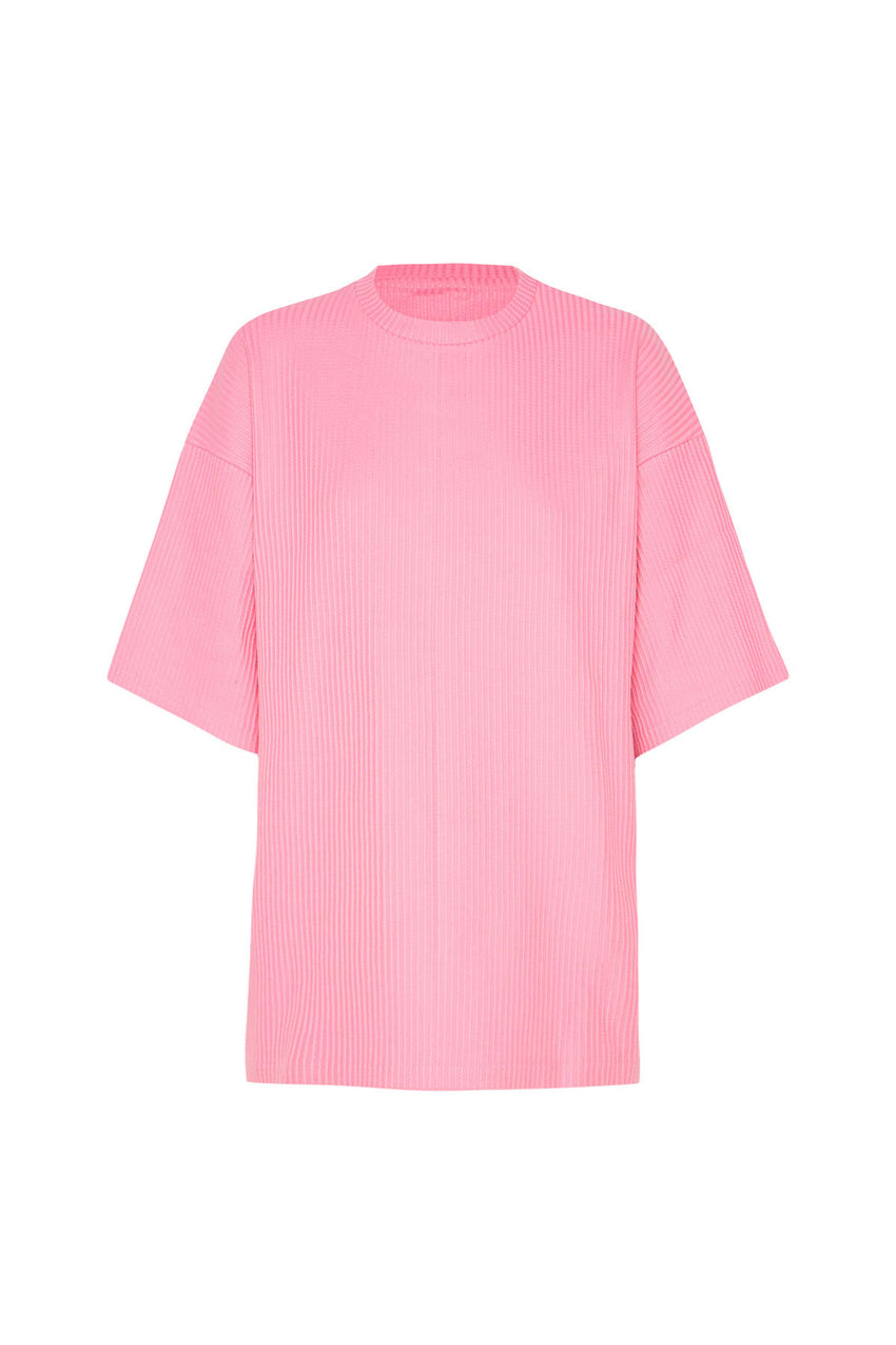 Classic Ribbed Tee - Hot Pink