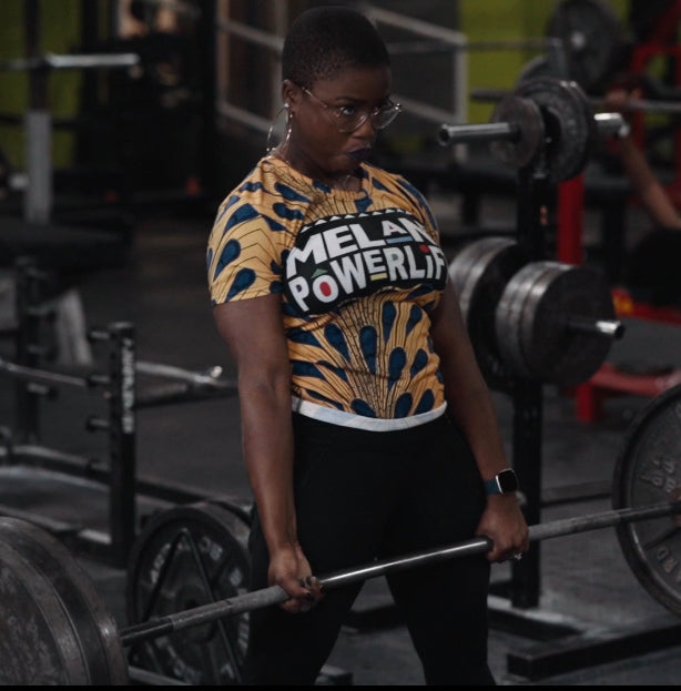 Yellow Ankara Melanin Powerlifter T-Shirt