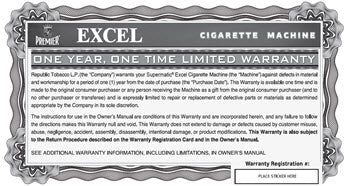 Excel Warranty and Registration Card