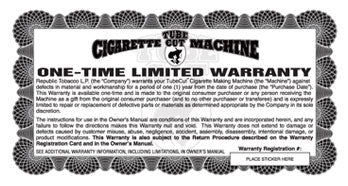 Gambler Tube Cut Warranty and Registration Card