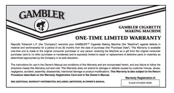 Gambler Warranty and Registration Card
