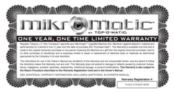 MikroMatic Warranty