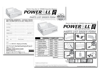 PoweRoll 2 Order Form/Parts List