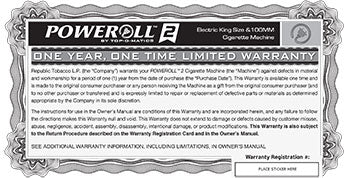PoweRoll 2 Warranty and Registration Card