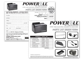 PoweRoll Order Form/Parts List