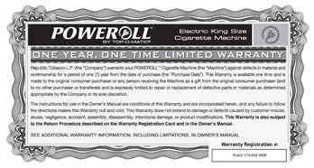 PoweRoll Warranty and Registration Card