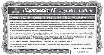 Supermatic II Warranty and Registration Card