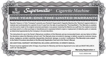 Supermatic Warranty and Registration Card