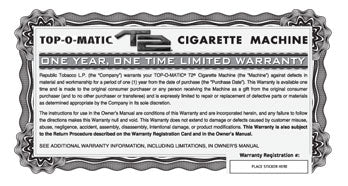 Top-o-matic T2 Warranty and Registration Card