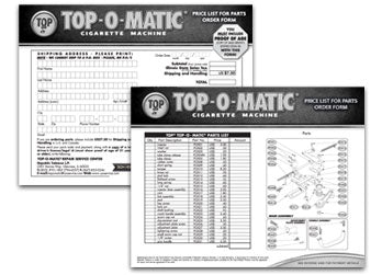Top-o-matic order Form/Parts List