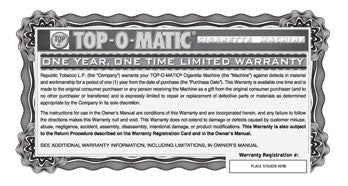 Top-o-matic Warranty