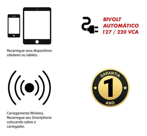 Carregador Sem Fio Wireless Usina + 4 Saidas Usb