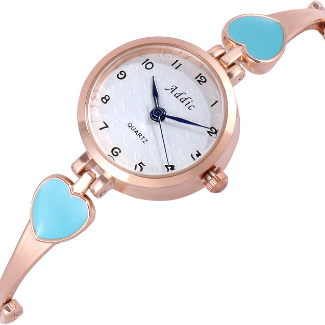 Addic Turquoise Hearts Rose Gold Girls & Women's Watch