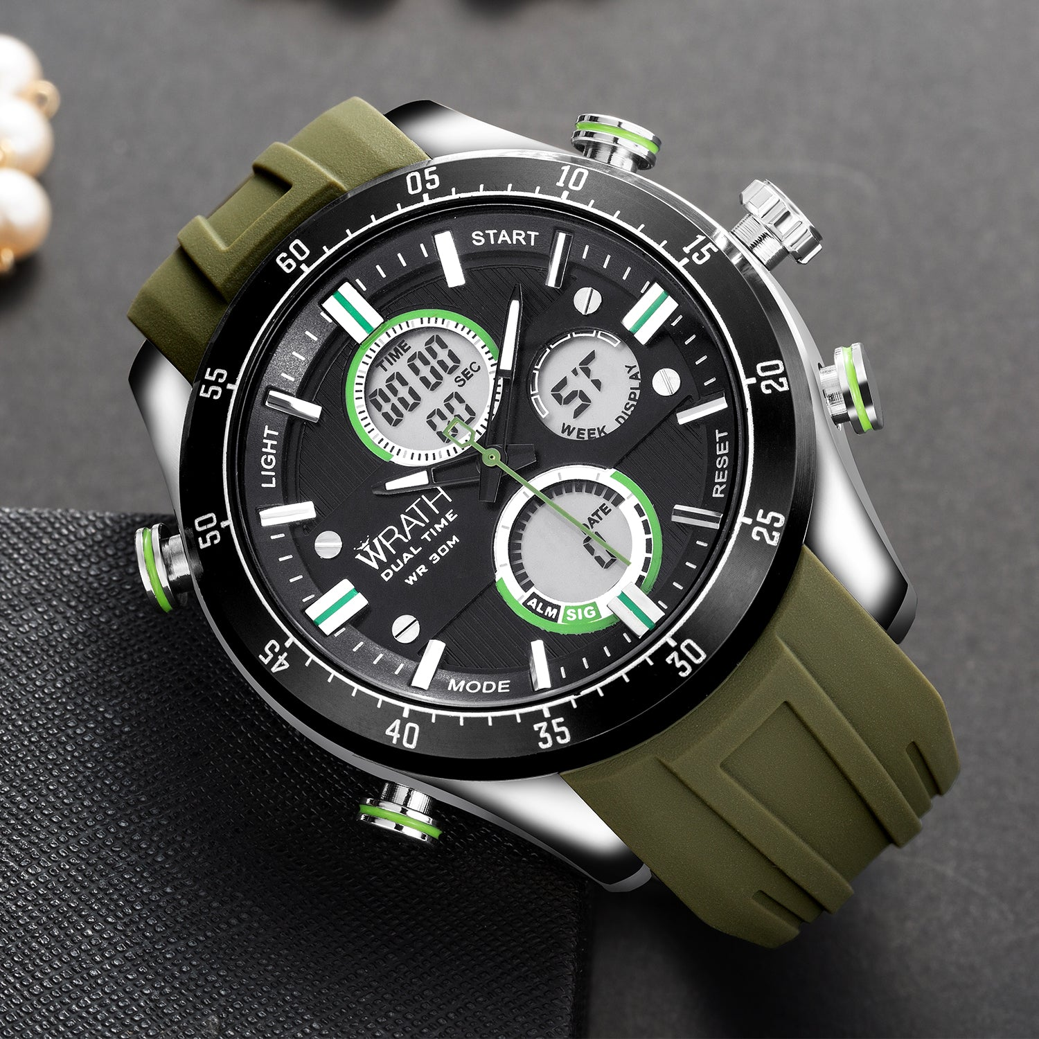 68a81ec2c6f Wrath Ripe Green Sports Analog   Digital Luxury Watch for Men   Boys  (1623 Green)