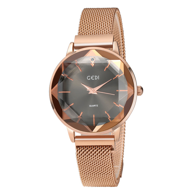 Gedi Sparkling Diamond Cut Rose Gold Magnetic Strap Luxury Watch For Women & Girls