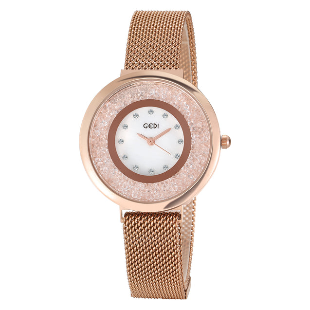 Gedi Rolling Diamonds Rose Gold Magnetic Strap Luxury Watch For Women & Girls