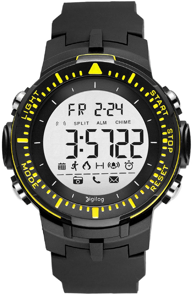Digilog Sharp Sports Activewear Black & Yellow Digital Multi Function Watch for Men & Boys