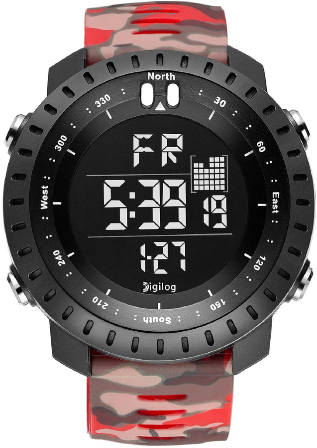 Digilog Badass Red Camouflage Digital Day Date Multifunction Watch for Men & Boys