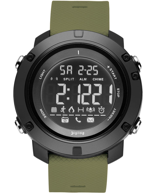 Digilog Future Military Green Activewear Classy Digital Multi Function Watch for Men & Boys.