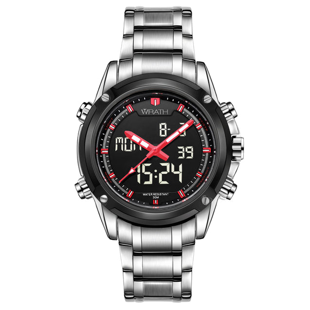 Wrath Stealth Shadow Screen Black & Silver Analog Digital Luxury Wrist Watch For Men & Boys