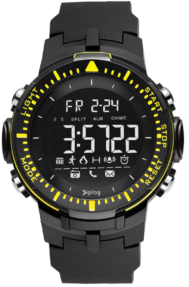 Digilog Sharp Sports Activewear Black & Yellow Digital Multi Function Watch for Men & Boys (Day, Date, Alarm, Backlight, Stopwatch & More)