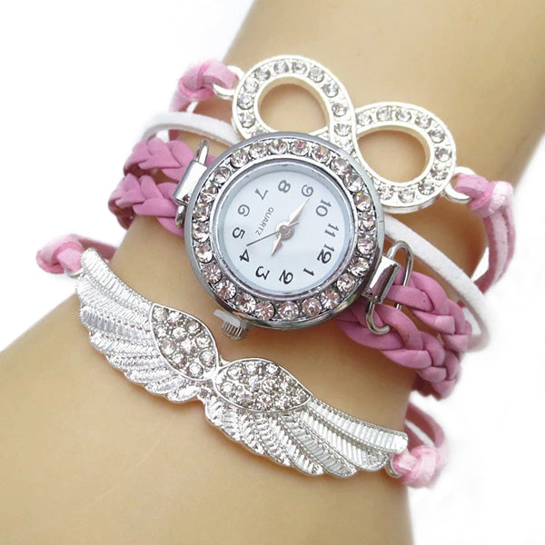 Addic Fashion Angel's Wings Pink Lucky Charm Bracelet Watch for Women! (Wristwatch)