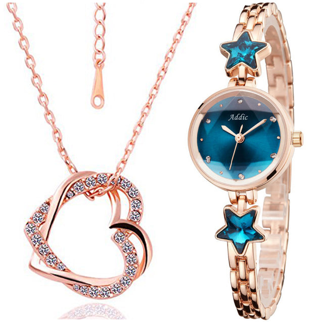 Addic Perfect Gift Heritage & Charm Watch & Precious Love Pendant Combo (Perfect for Valentine's Gift/Anniversary Gift/Birthday Gift/Proposal Gifts)