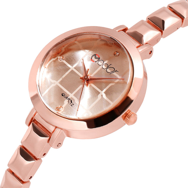 Modor Chunks Of Charm Rose Gold Formal / Casual / Party Wear Multi Purpose Wrist Watch For Women & Girls