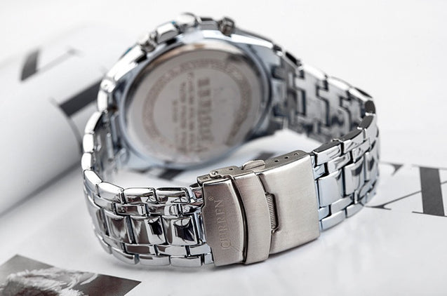 Addic-Curren Luxury Silver Sports Watch (With Date) for Men! (Wristwatch)
