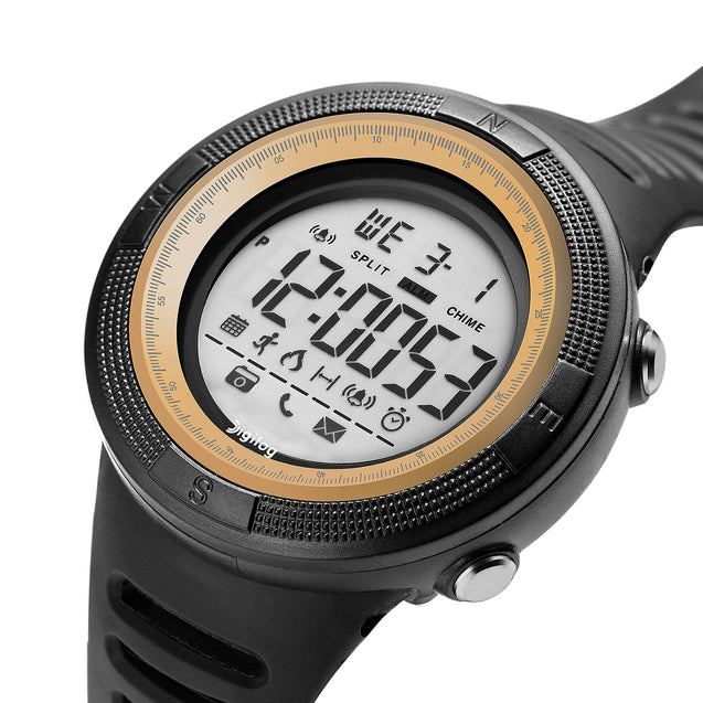 Digilog Wind Breaker Activewear Black & Gold Multi Function Watch for Men & Boys (Day, Date, Alarm, Backlight, Stopwatch & More)