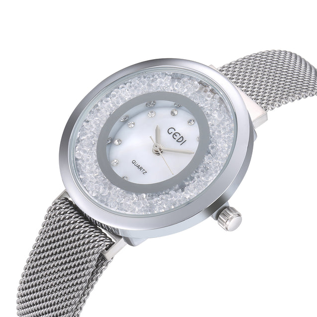 Gedi Rolling Diamonds Silver Magnetic Strap Luxury Watch For Women & Girls
