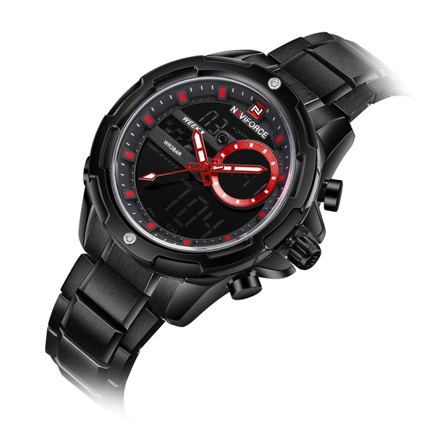 Naviforce Eye Of The Storm Black & Red Analog Digital Wrist Watch For Men & Boys