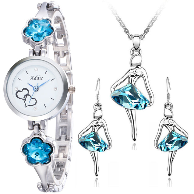 Addic Perfect Gift Mermaid Blossoms Watch & Dancing Princess Pendant Earring Set Combo (Perfect for Valentine's Gift/Anniversary Gift/Birthday Gift/Proposal Gifts)
